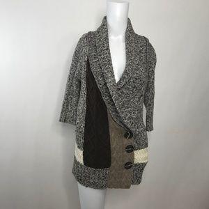 BKE 3/4 Sleeve Knit Button Cardigan Medium
